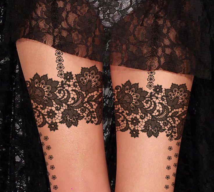 lace pattern garter tattoo