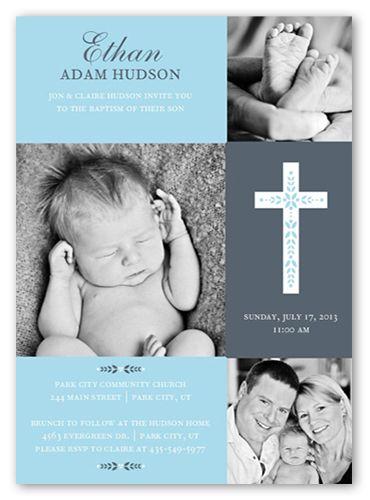 Cross Of Boy Invitation Card | Baptism Invitations | Shutterfly