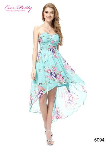 Blue Strapless Floral Printed Hi-lo Summer Casual Dress - Ever-Pretty