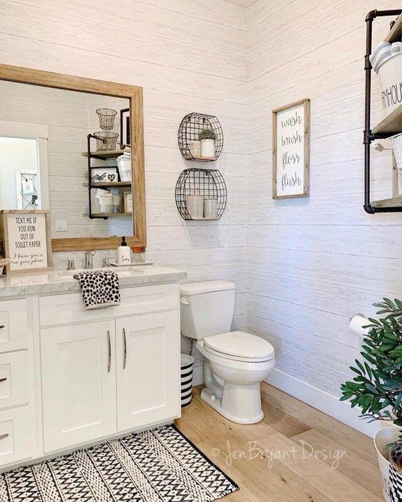 Shiplap Reclaimed Wood Peel And Stick Farmhouse Wallpaper Nu2187 In 2021 Wood Floor Bathroom Farmhouse Wallpaper Shiplap Bathroom