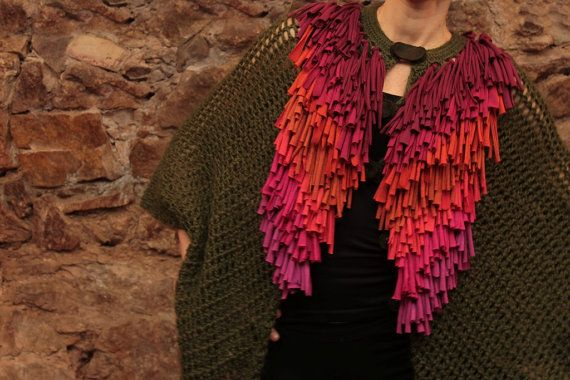 Knitted poncho crochet cape moss green shawl by quirogaquiroga