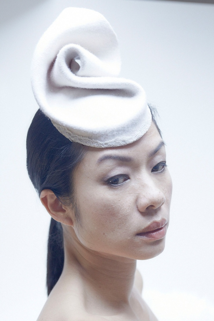 White Felt Fascinator by CHUCHU NY