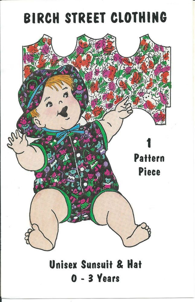Birch Street Clothing Unisex Sunsuit & Hat Sewing Pattern 0-3 Years New Uncut  #BirchStreetClothing