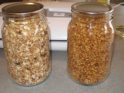 'Canning' dry food. A way of storing food.