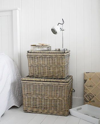 Set of grey baskets as a bedside table for excellent storage