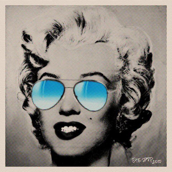 Marilyn Monroe Blue Sunglasses Vintage Pop Art Portrait by EYE POP, via Flickr