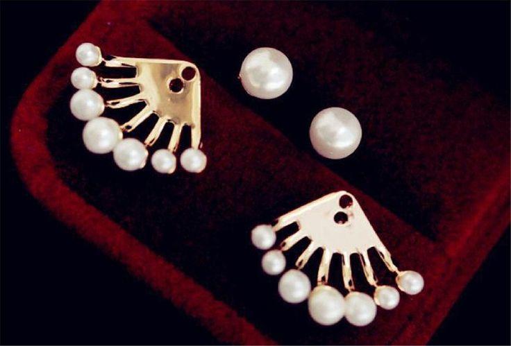 Yulo Ohrringe Ohrstecker doppelt Perlen Schmuck Perlenohrringe: Amazon.de: Schmuck