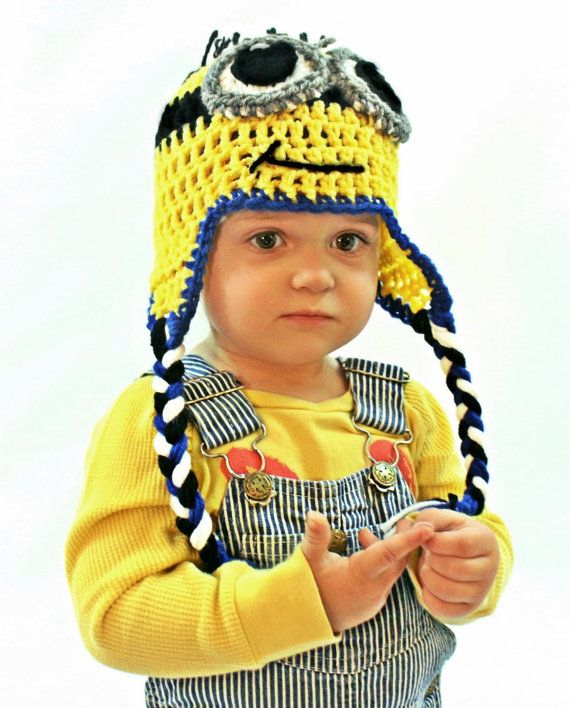 Crochet Minion Hats  Minion Hats   with Ear Flaps by alanemarie, $25.00