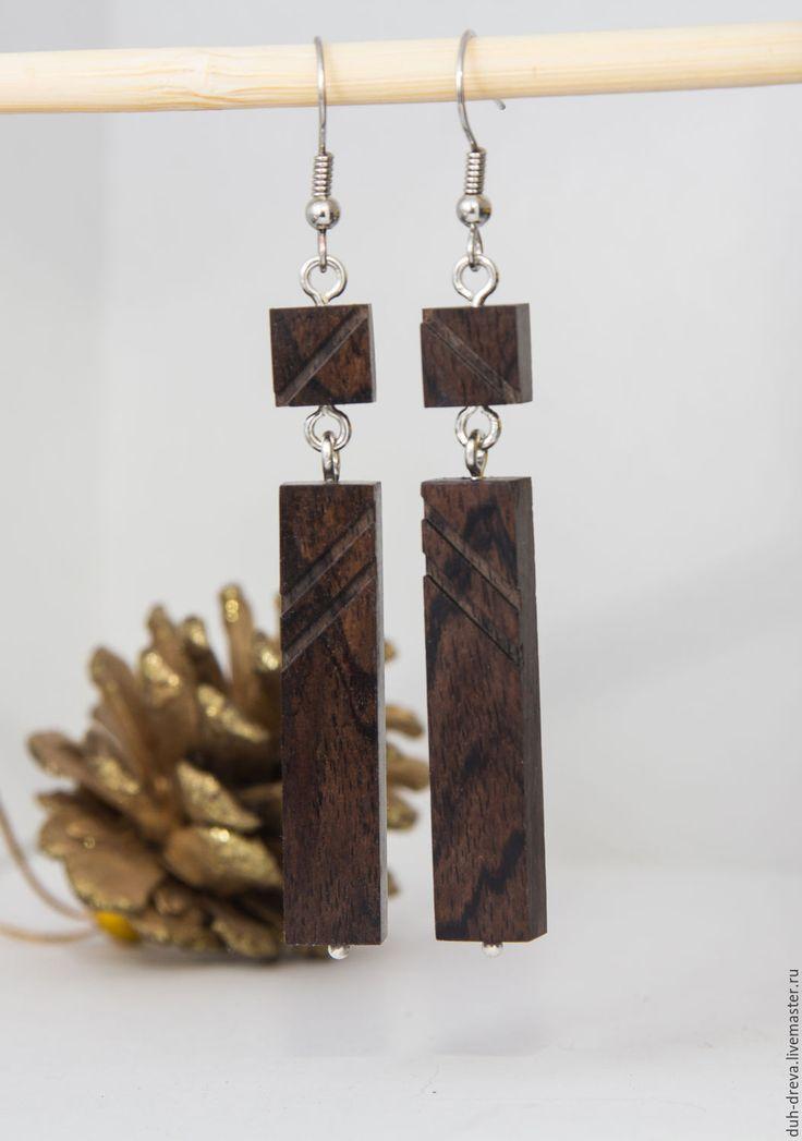 Купить Серьги из черного дерева - коричневый, серьги из дерева, серьги из черного дерева, серьги из блэквуда