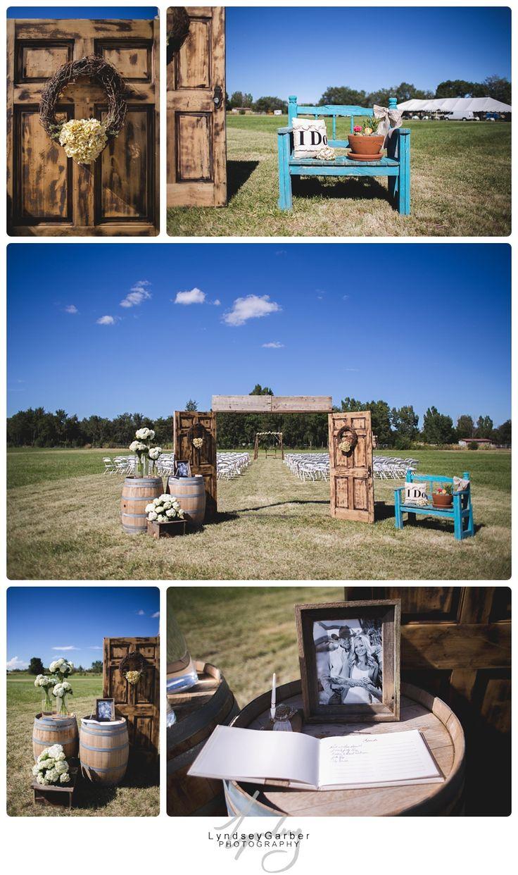 Field wedding ceremony entry way. Ranch wedding decor.