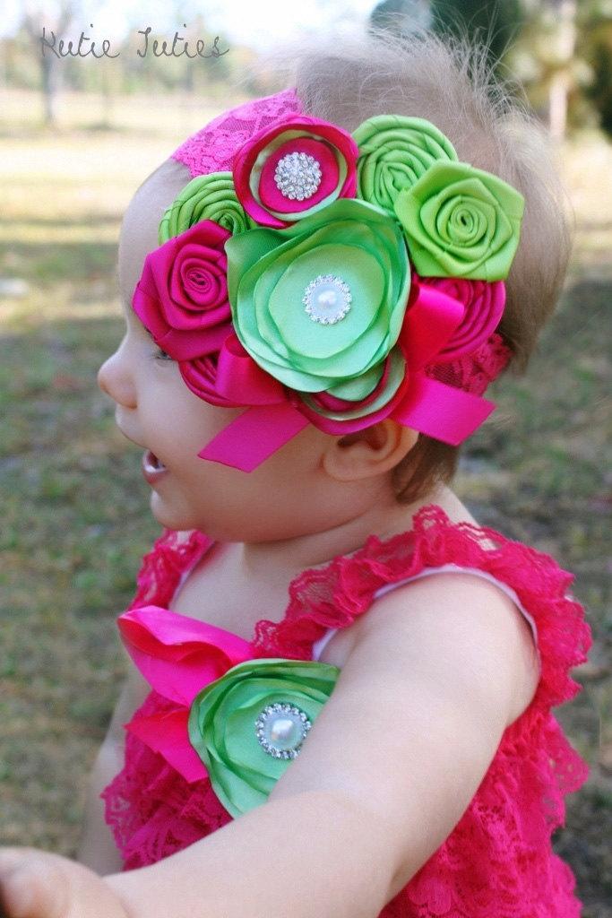 Pink and green headband Lime Hot pink Cake Smash by KutieTuties
