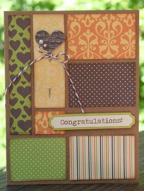 "Cute ""Congratulations"" Card...using various paper scraps.  By Gail Hoecker - jillibeansoup."