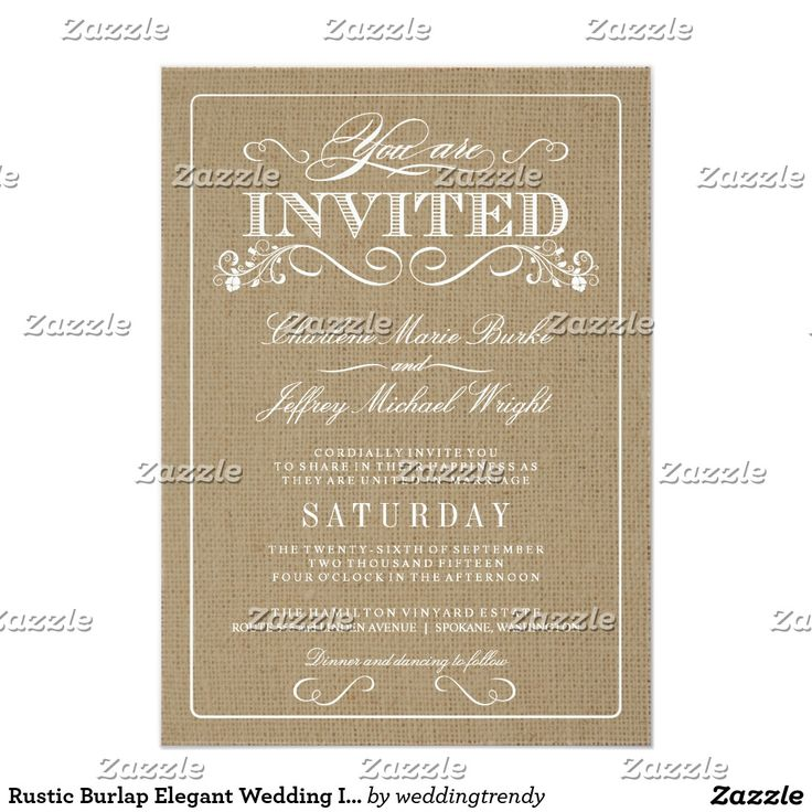 Rustic Burlap Elegant Wedding Invitations
