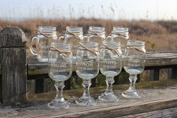 8 Mason jars 4 Redneck Wine Glasses  4 mason jar by EngravingByT, $96.00