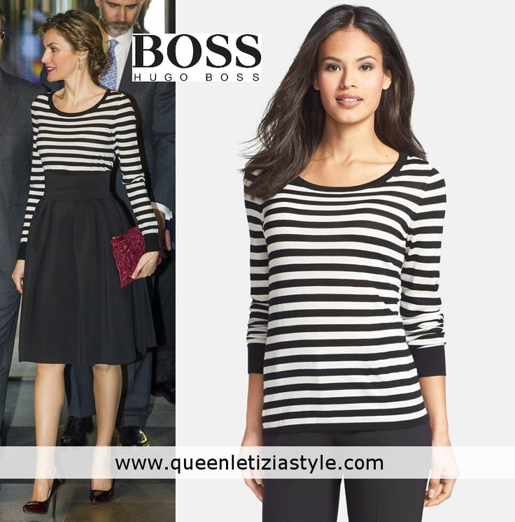 Doña Letizia's new Hugo Boss v-neck navy/white stripe knit top is very  similar to one she already wore a white striped wool sweater with a round  neck, ...