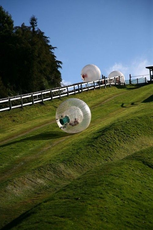 Zorbing in New Zealand! Zorbing is the recreation of rolling downhill in a transparent plastic ball. Looks like fun