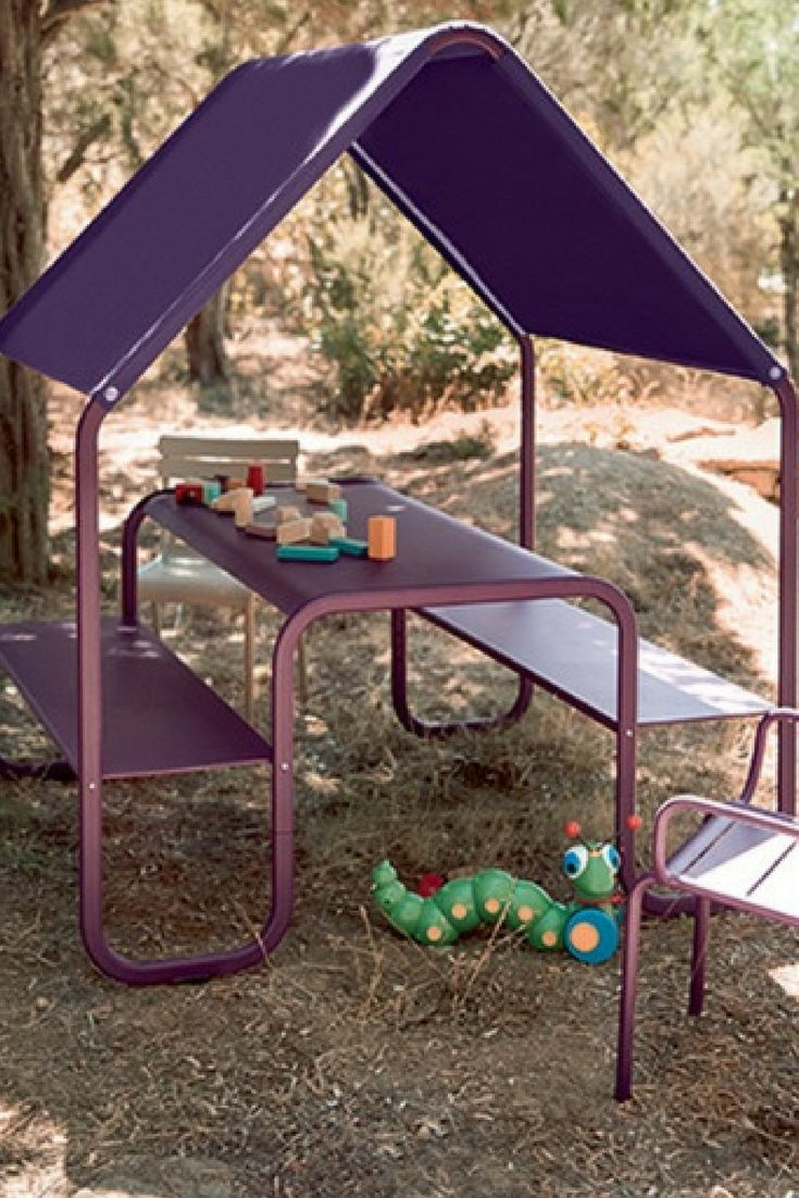 Fermob Kids Picnic Hut Colourful Table For Children S Garden Furniture Purple Blue Undercover Bench