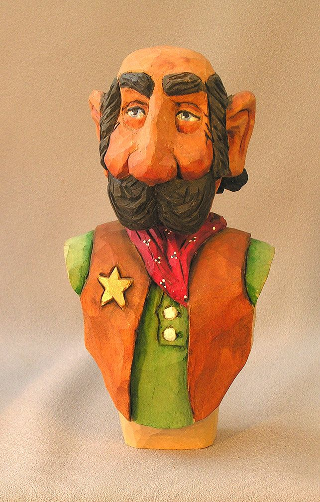 Sheriff Bust, Green Shirt. Hand carved in basswood by Russell Scott - ScottCarvings.com Male Human Figure by ScottCarvings on Etsy