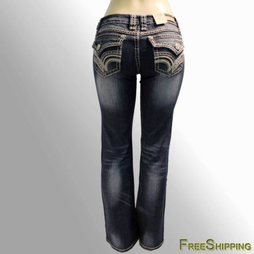 NEW-Womens-LA-Idol-Boot-Cut-Jeans-Rhinestone-Thick-Flap-Pockets-4485BT