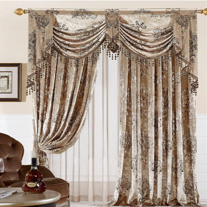 Home textile curtain design velvet cloth gilt finished for Curtains for bedroom windows with designs