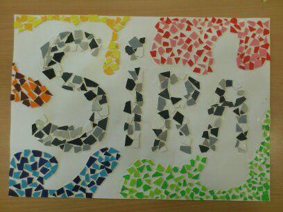 Pasta de caneló pintada. El dibuix no,  xo sí el símil de  fer trossets dd pasta com si fora el mosaic!!!