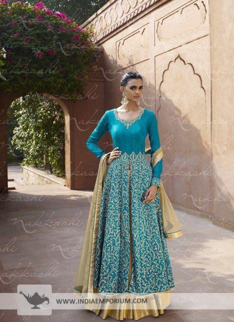 Sky Blue Bhagalpuri Silk Slit Pant Suit/Lehenga