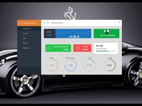 C#, Modern Flat UI Dashboard Windows Form Visual Studio - Design Bunifu.NET - - YouTube