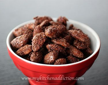 Spicy Cocoa Roasted Almonds recipe! I've got to try this, maybe without the spice though... :)
