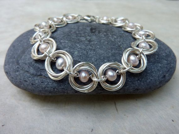 Pale Pink Pearl and Silver Chainmaille Bracelet  by Linkouture, $60.00