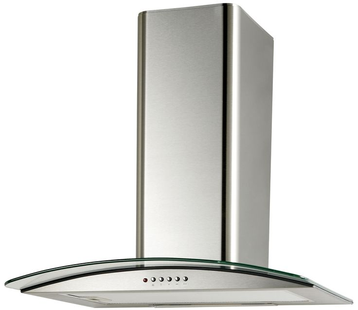 Cooke & Lewis CLGCH60-C Curved Glass Cooker Hood, Silver Effect | Departments | DIY at B&Q