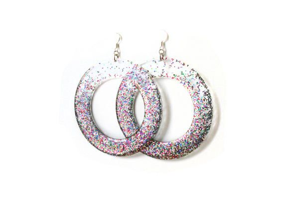 Large Glitter Hoops Acrylic Sparkly Hoop Earrings by petiteutile