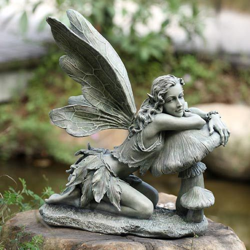Garden Statue Fairy: Green Fairy On Mushroom Napco Marketing Corporation