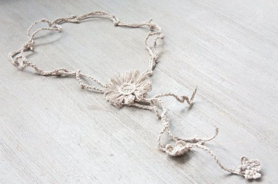 French knitted - Y necklace - made with natural linen fiber - flower - crocheted