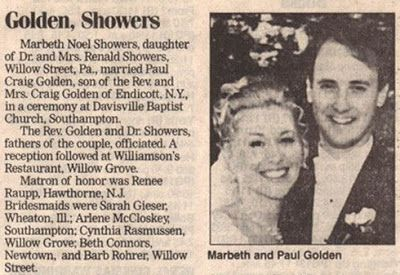 Golden - Showers  funny wedding announcements | Funny Wedding Announcements