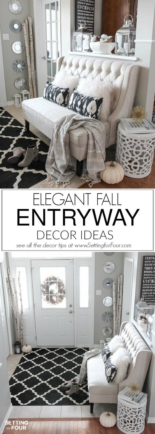 See my Elegant Fall Entryway Decor Ideas to add warmth and texture to your home for autumn! Don't miss any of my Fall neutral foyer decorating tips including ideas for the perfect stain resistant entryway area rug, a stylish settee for seating, cozy pillo