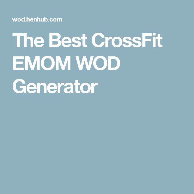 The Best CrossFit EMOM WOD Generator
