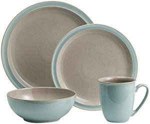 Denby Duets Taupe & Blue Dinnerware Includes: dinner plate, salad/dessert plate, soup/cereal bowl and mug Durable stoneware Each piece of pottery is painstakingly glazed by skilled craftsman Strong Durable Stoneware Chip resistant