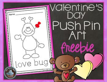 I just LOVE my followers!  Here is a little Valentine's Day FREEBIE from Miss Hellen's Hippos. :)  If you download, I'd love some feedback!  Thank you!Included in this product:8 individual Valentine's Day themed pieces of push pin art.  Great for fine motor practice!!You may also like:Alphabet Push Pin ArtTo use:Copy for each student.
