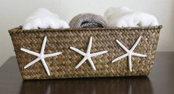 Starfish basket, brown basket, coastal decor, cottage chic, beach decor, bathroom, office, storage, bedroom via Etsy