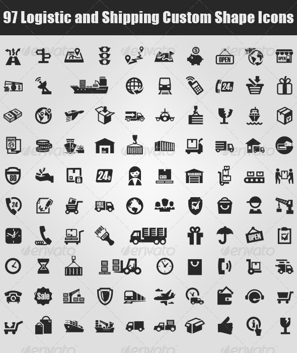97 Logistic and Shipping Custom Shape Icons - Miscellaneous Shapes