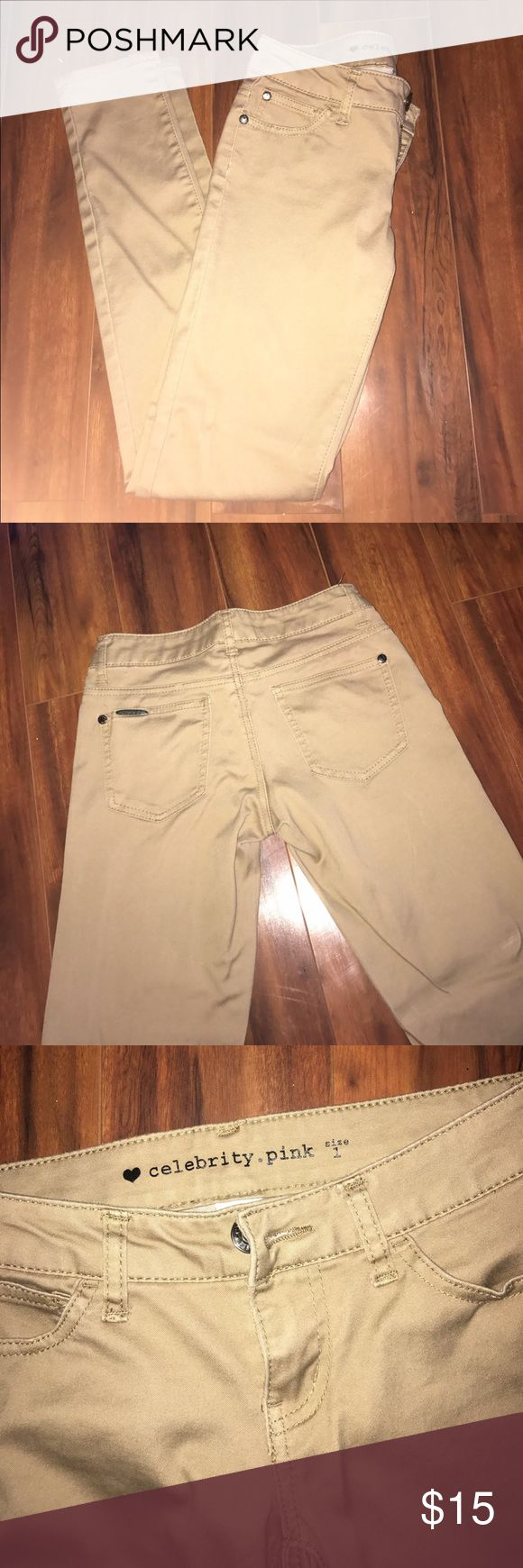 Celebrity Pink Khaki Pants Khaki skinny leg pants from Celebrity Pink   Lightly used once for a dance performance Celebrity Pink Pants Skinny