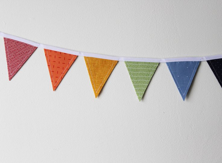 Rainbow Mini Fabric Bunting by EvergreenCollective on Etsy #theevergreencollective