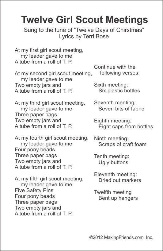 Funny New Song -- Twelve Girl Scout Meeting -- Free printable From MakingFriends.com