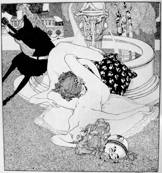 Franz von Bayros, The Serenade (But Later We Will Play Something More Innocent), the series La Grenouillere, 1907 , esbianism in art