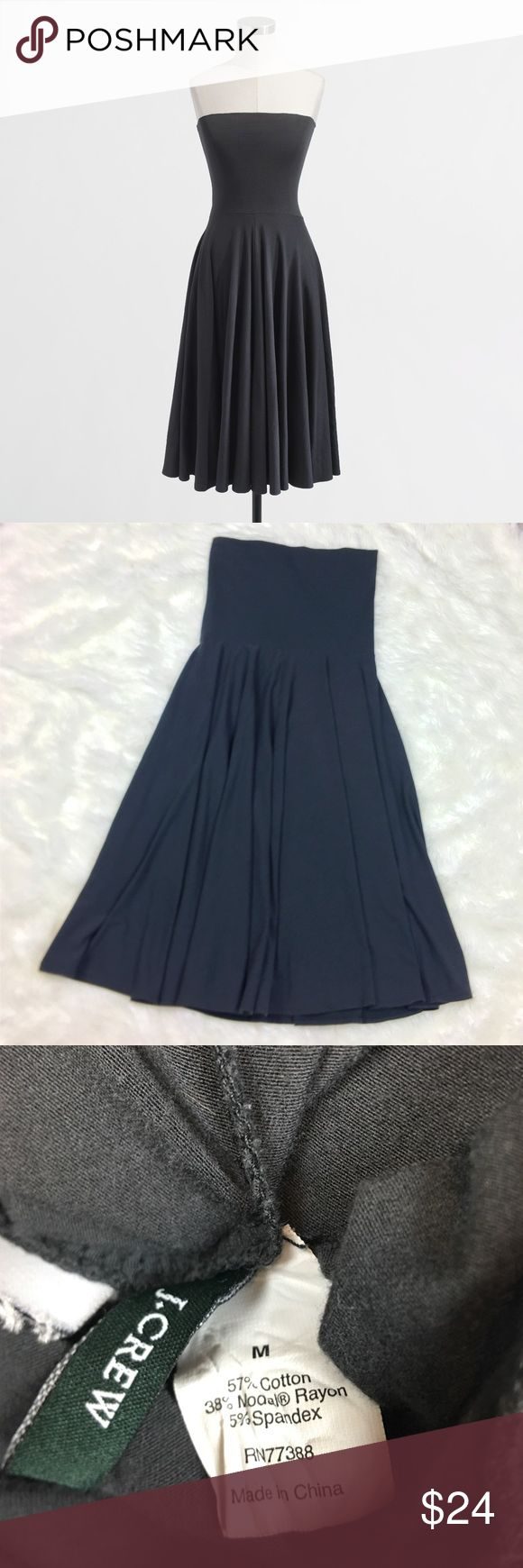 """J. Crew Gray Senur Sun Dress Maxi Fold Over Small Excellent condition J. Crew Senur Dress in dark charcoal gray. So soft & Stretchy! Sold out online. Style 91099. Cotton / modal / spandex fabric blend! This dress can also be made into a maxi skirt by folding the top down. Would also make an amazing maternity skirt! Can dress it up with a belt or down. Size Medium. Measurements: bust 27"""", length  33.5"""". Casual & cool! J. Crew Dresses Midi"""