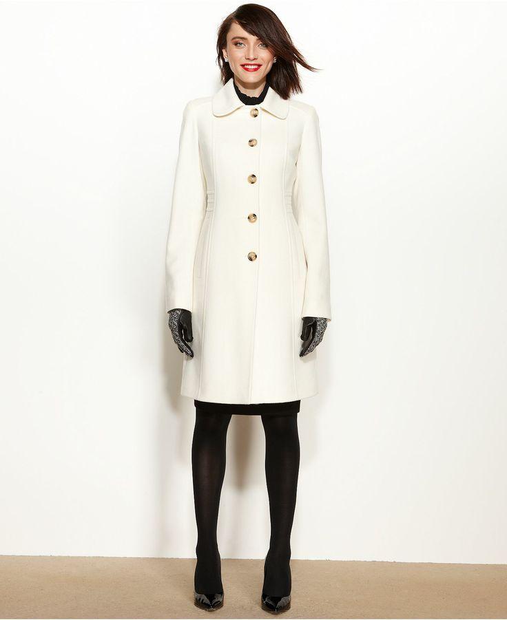 Anne Klein Ivory Coat, Wool-Cashmere-Blend Club-Collar Walker ...