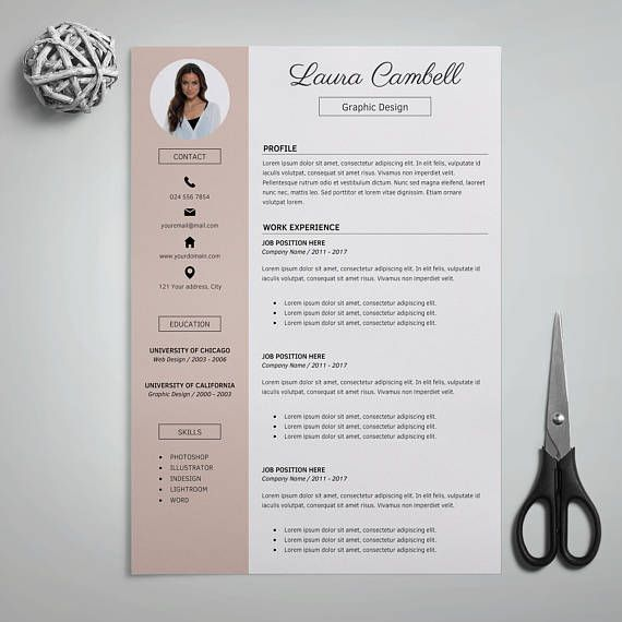 Modern Resume Template, CV Template for Word, Cover Letter & References + Icons, Resume Modern, Professional Resume, Instant Download