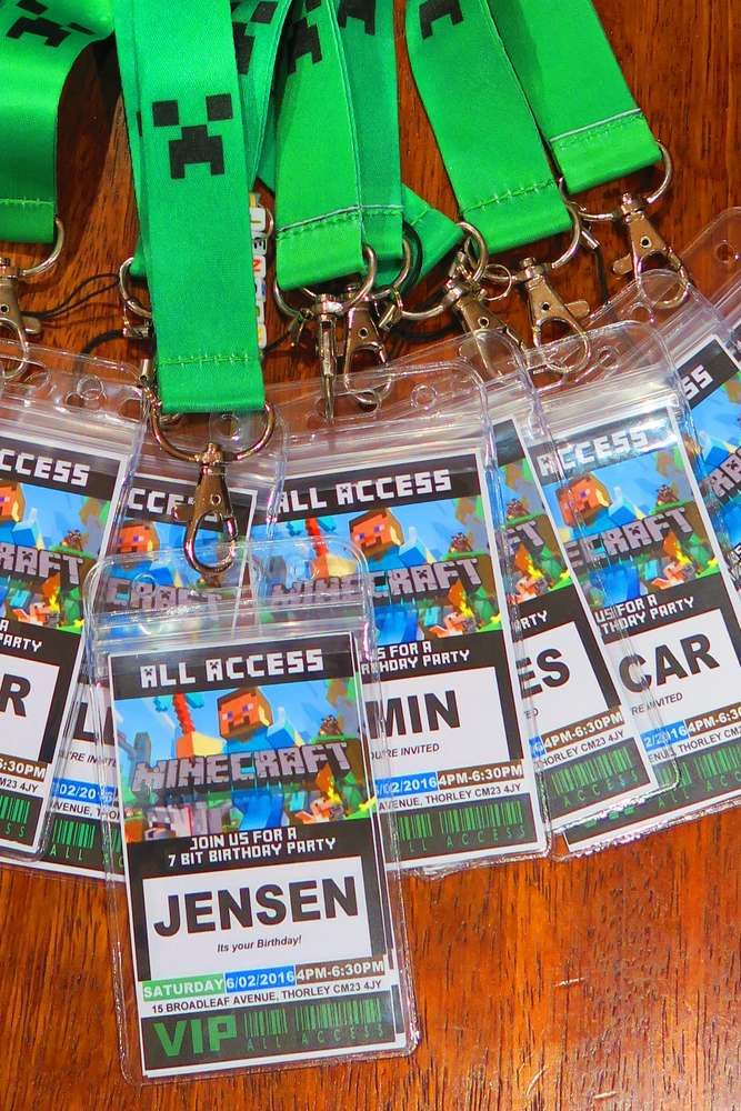Cool lanyards at a Minecraft birthday party! See more party ideas at CatchMyParty.com!