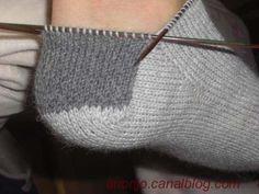 Explications de base pour des chaussettes commencées par la pointe du blog Blip, bloup, blop