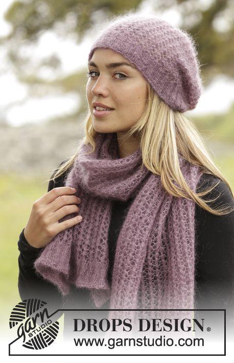 Jacinta / DROPS 172-30 - Settet består av: Stickad DROPS mössa och halsduk i Kid-Silk med resår och hålmönster.